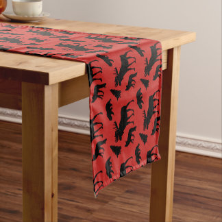 Rustic Red And Black Woodland Pattern Short Table Runner