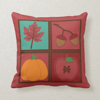 Rustic Red Autumn Leaf Acorn Pumpkin Apple Throw Pillow
