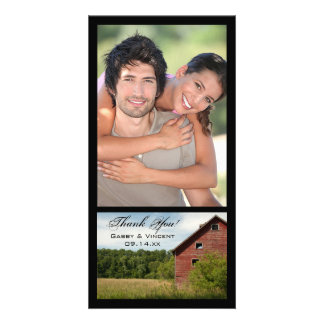 Rustic Red Barn Country Thank You Personalized Photo Card