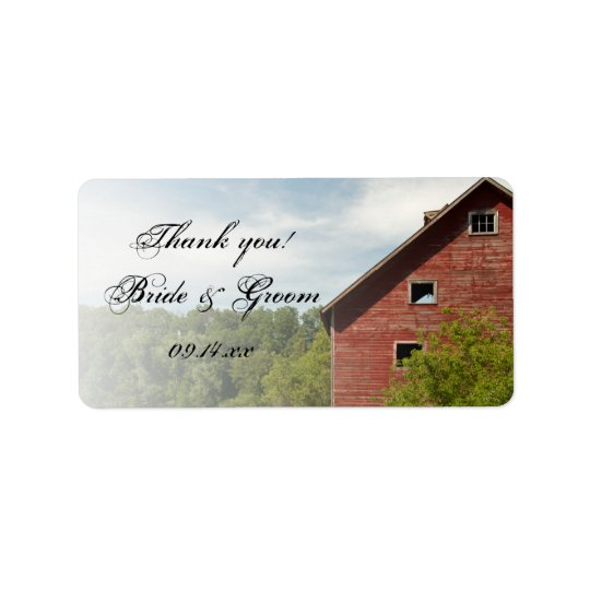 Rustic Red Barn Country Wedding Favour Tag