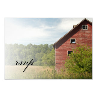 Rustic Red Barn Country Wedding RSVP Response Card
