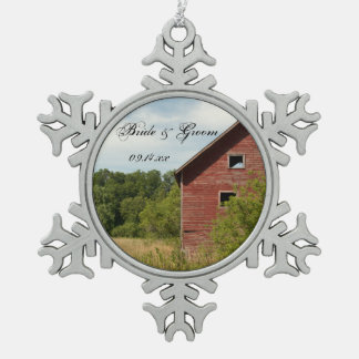 Rustic Red Barn Country Wedding Snowflake Pewter Christmas Ornament