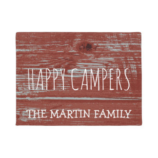 Rustic Red Barn Wood Camping |  Happy Campers Name Doormat