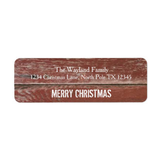 Rustic Red Barn Wood Christmas Address Labels