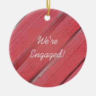 Rustic Red Barn Wood Country Engagement Round Ceramic Ornament