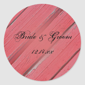 Rustic Red Barn Wood Country Wedding Classic Round Sticker