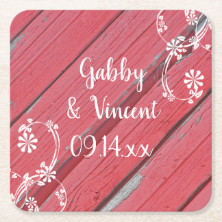 Rustic Red Barn Wood Country Wedding Square Paper Coaster