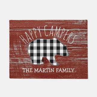 Rustic Red Barn Wood Monogram Bear | Happy Campers Doormat
