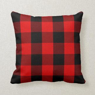 Rustic Red Black Buffalo Check | Lumberjack Plaid Throw Pillow