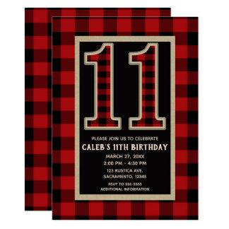 Rustic Red Black Buffalo Plaid 11th 11 Birthday Card