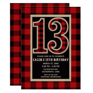 Rustic Red Black Buffalo Plaid 13th 13 Birthday Card