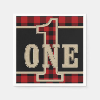 Rustic Red Black Buffalo Plaid 1st Birthday Party Paper Napkins