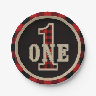 Rustic Red Black Buffalo Plaid 1st Birthday Party Paper Plate