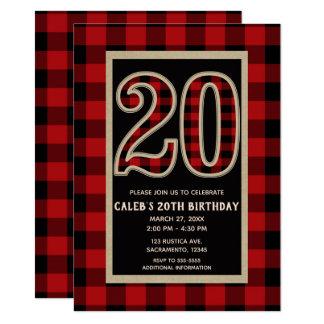 Rustic Red Black Buffalo Plaid 20th 20 Birthday Card