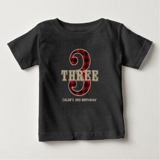Rustic Red Black Buffalo Plaid 3rd Birthday Party Baby T-Shirt