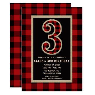 Rustic Red Black Buffalo Plaid 3RD Birthday Party Card