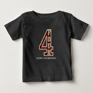 Rustic Red Black Buffalo Plaid 4th Birthday Party Baby T-Shirt