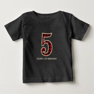 Rustic Red Black Buffalo Plaid 5TH Birthday Party Baby T-Shirt