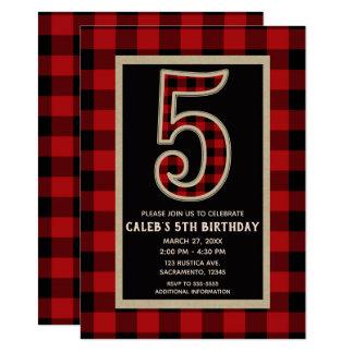 Rustic Red Black Buffalo Plaid 5th Birthday Party Card