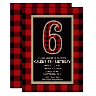 Rustic Red Black Buffalo Plaid 6th Birthday Party Card