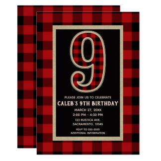 Rustic Red Black Buffalo Plaid 9th Birthday Party Card