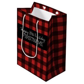 Rustic Red & Black Buffalo Plaid Birthday Party Medium Gift Bag