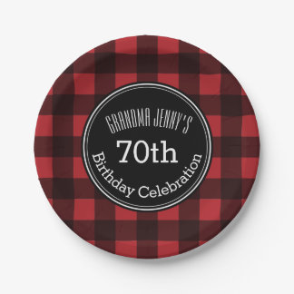 Rustic Red & Black Buffalo Plaid Birthday Party Paper Plate