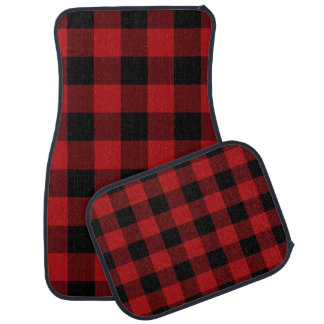 Rustic Red Black Buffalo Plaid Checker Squares Car Mat