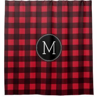 Rustic Red & Black Buffalo Plaid Pattern Monogram