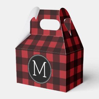 Rustic Red & Black Buffalo Plaid Pattern Monogram Favor Box