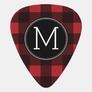 Rustic Red & Black Buffalo Plaid Pattern Monogram Guitar Pick