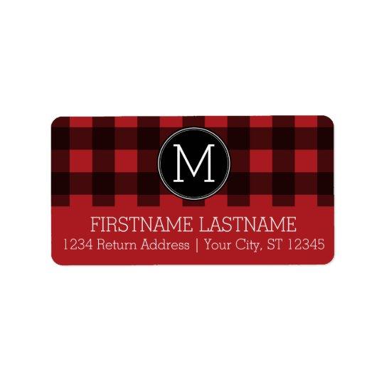 Rustic Red & Black Buffalo Plaid Pattern Monogram Label
