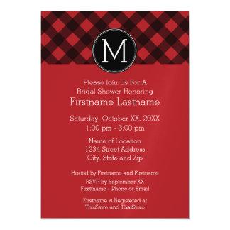 Rustic Red & Black Buffalo Plaid Pattern Monogram Magnetic Invitations