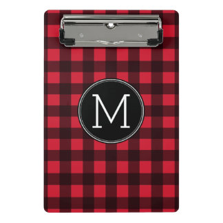 Rustic Red & Black Buffalo Plaid Pattern Monogram Mini Clipboard