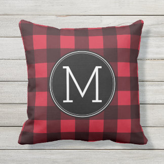 Rustic Red & Black Buffalo Plaid Pattern Monogram Outdoor Pillow