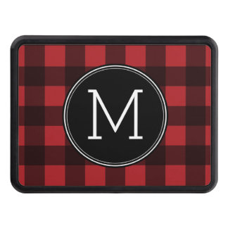 Rustic Red & Black Buffalo Plaid Pattern Monogram Trailer Hitch Cover