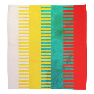 Rustic Red Blue Green Yellow White Striped Pattern Bandana