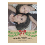 Rustic Red Bow & Garland Holiday Photo Card