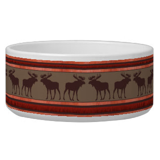Rustic red brown moose pattern large pet bowl
