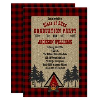 Rustic Red Buffalo Checks Camping Graduation Party Card