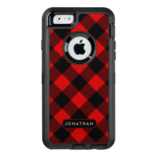 Rustic Red Buffalo Plaid Pattern with Any Name OtterBox Defender iPhone Case