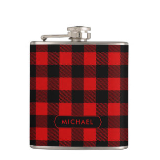 Rustic Red Buffalo Plaid with Any Name Hip Flask