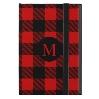 Rustic Red Buffalo Plaid with Monogram Cover For iPad Mini