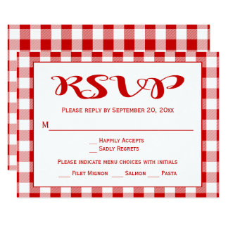 Rustic Red Checks RSVP Weddin, Party Gingham Plaid Card