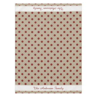 Rustic Red Faux Burlap Polka Dot Tablecloth