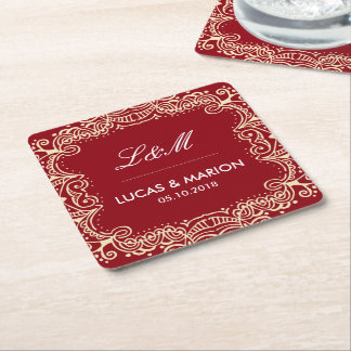 Rustic Red Floral Swirl Ornament Wedding Party Square Paper Coaster