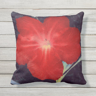 Rustic Red Flower Face Throw Pillow