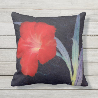 Rustic Red Flower Profile Outdoor Pillow