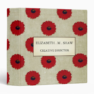 Rustic Red  Flowers Pattern Binder