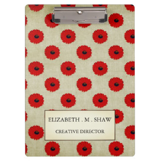 Rustic Red  Flowers Pattern Clipboards